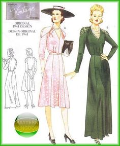 Vogue 2371 Vintage Model 1941 Dress Gown Patterns