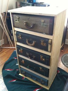 Vintage suitcase dresser by KLANKtone on Etsy Spice Things Up, Old Things, Diy Furniture Renovation, Basement Bedrooms, Wardrobe Design, Suitcases, Dressers, Bedroom Furniture, Dyi