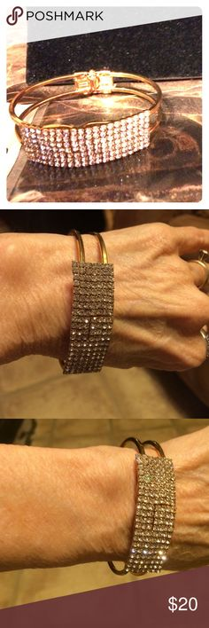 Beautiful rose gold dipped Bangle & quarts crystal Very pretty rose gold bangle with sparkling Quarts crystals and diamond accents This is a very lovely bracelet Crystal Doll Jewelry Bracelets