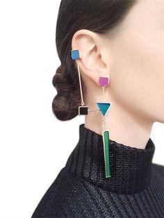 Geometrical Ear Cuff & Drop Mono Earring