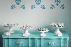 tiffany bridal shower ideas, dessert table