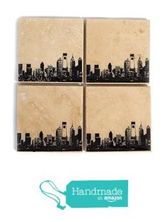 Philadelphia Skyline Coaster Set (4 Stone Coasters) Red, Blue, Green, & Orange from Ink the Print http://www.amazon.com/dp/B016MV0KY6/ref=hnd_sw_r_pi_dp_OF.6wb18XHJTM #handmadeatamazon