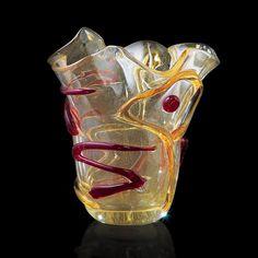 Schizzo Collection - Gold 'Fazzoletto' Vase in Murano Glass - MuranoNet Online Store