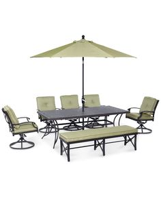 Ciprus Outdoor Cast and Aluminum 7-Pc. Dining Set (84 x 42 Dining Table, 5 Swivel Rockers and 1 Bench) - Outdoor & Patio Furniture - Furniture - Macy's