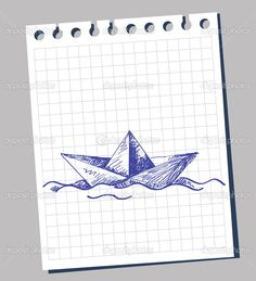 Paper Boat Drawing Drawn vector by bioraven