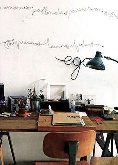 Home office inspiration! Home Office Inspiration, Inspiration Wand, Workspace Inspiration, Interior Inspiration, Sunday Inspiration, Design Inspiration, Home Interior, Interior And Exterior, Loft Industrial