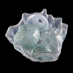 """DALE CHIHULY (b. 1941) Five-piece Celadon Seaform set, Seattle, WA, 1981/83 Blown glass. Three pieces signed and dated Largest: 7 1/2"""" x 15"""""""