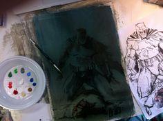 "gabrieledellotto: "" variant cover "" The Dark Knight III - The Master Race variant cover by Gabriele Dell'Otto * Comic Book Characters, Comic Books, Vaulting, Dark Knight, The Darkest, Sculpture, Comics, Cover, Illustration"