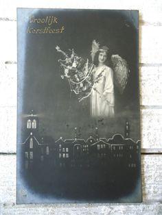 Antique french postcard  Angel wings woman girl by LizKnijnenburg