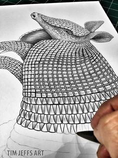 Progress 3 pic of my Armadillo. Drawing with a Tombow Zoom L105 ballpoint Pen