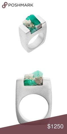 Emerald Silver Ring Carved from the emerald stone and set in sterling silver, this ring exhibits the gemstone unique texture, color and shape, making each piece one-of-a-kind. All emeralds are naturally formed and hand selected for their beauty. Each ring is hand-carved from the emerald stone and varies in color, cut, clarity and transparency to exhibit its one-of-a-kind quality. Note that due to the nature of the emerald, each piece is unique and cannot have an exact replica. Jewelry Rings
