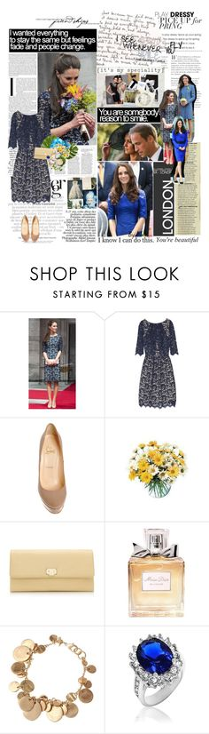 """Get the look #3- Kate Middleton !"" by manolitaki ❤ liked on Polyvore featuring Mason's, Pippa, Erdem, Christian Louboutin, Tiffany & Co., Christian Dior, Origins, christian louboutin, kate middleton and get the look"