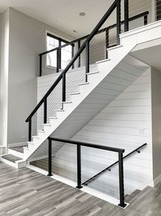 Black Aluminum Cable Railing - Terre Haute, IN, Style At Home, Wooden Stairs, House Stairs, Staircase Design, Design Blogs, House Goals, My Dream Home, Home Fashion, Future House