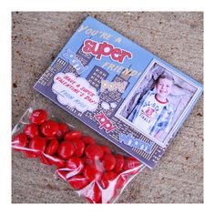 diy Printable Custom Photo Valentine Treat Bag Topper - Super Hero