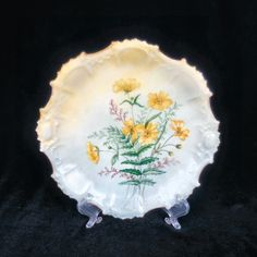Limoges Porcelain Hand Painted Plate with Yellow Flowers 1800's