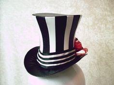 Black and White Striped Bijou Mini Top Hat by Gypsy Lady Hats