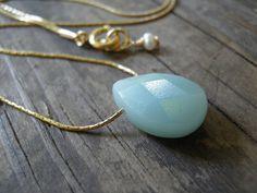 Tiny Teal Amazonite Blue Teardrop Necklace 14K by AnnalisJewelry, $25.00