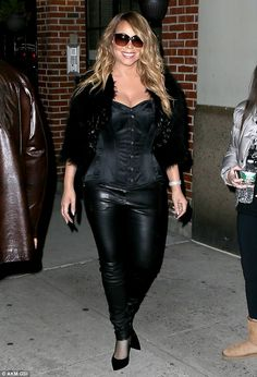 Mariah Carey wears corset and skintight leather trousers to perform at rapper's Hot For The Holidays concert | Daily Mail Online
