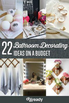 22 Bathroom Decorating Ideas on a Budget by DIY Ready at http://diyready.com/bathroom-decorating-ideas-on-a-budget/