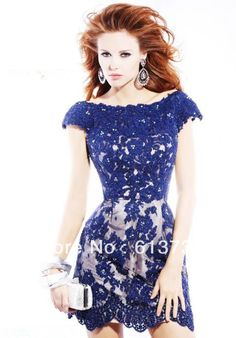 vestido azul  renda 2013 novo sexy rendas frisado