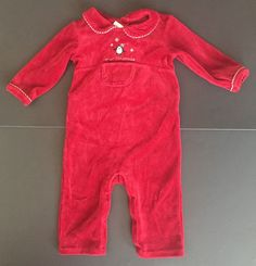 Janie And Jack First Christmas Red Velour Penguin One Piece Outfit 6 To 12 Mos  #JanieandJack #Holiday