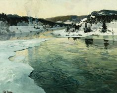 Frits Thaulow  ~  Winter On The Mesna River Near Lillehammer