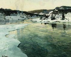 Frits Thaulow  ~  Winter On The Mesna River Near Lillehammer