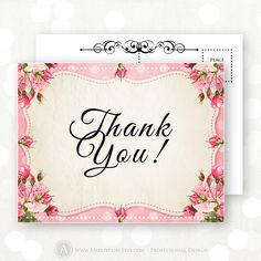 Printable Thank You Card Retro Rose Shabby Chic Flowers Instant