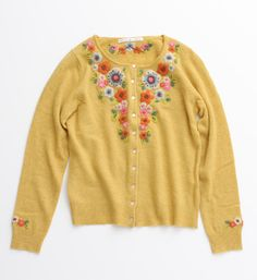 Amazing embroidered yellow cardigan.... it would be like wearing sunshine!