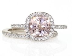 Platinum Cushion Morganite Engagement Ring & Wedding Band Cushion Diamond Halo Morganite Ring Custom Bridal Jewelry (in 14K White Gold) (by RareEarth, on Etsy.com)