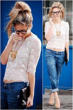 blusa renda e calça jeans - Pesquisa Google