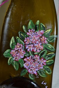 Hand Painted Rhododendrons Brown Glass Wine Bottle by oldcargirl, $29.00