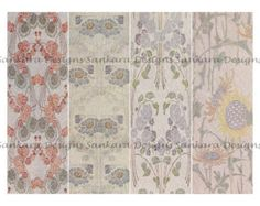 Art Nouveau digital image collage sheet, 4 bookmarks, 2.5 x 7.5, PDF email ANB4 -    Edit Listing  - Etsy