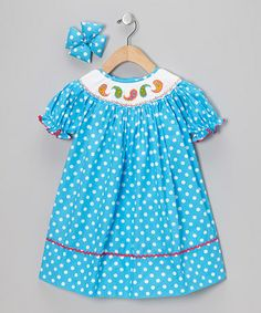 Take a look at this Blue Paisley Bishop Dress & Bow Clip - Infant, Toddler & Girls by Molly Pop Inc. on #zulily today!