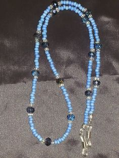 Blue beaded eye glass lanyard/ eye glass holder by ILoveBeads247, $10.00