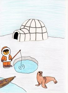 eskimo scene 2 Arctic Animals, Rock Art, Cool Kids, Alaska, Projects To Try, Snoopy, Scene, Winter, Fictional Characters