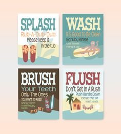 Surfin' Beach Kids Bathroom Art Prints Set of 4 by 7-Wonders Design