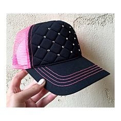 Hot pink quilted trucker hat with bling Custom Made Hats, Hot Pink, Bling, Etsy, Jewel, Pink
