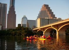 Live, Love, Paddle offers bat-watching kayak trips on Lady Bird Lake in Austin, Texas. The city's Congress Avenue bridge is home to the world's largest urban bat colony.