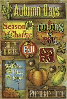 happy, inviting, autumn, wooden, nature, seasons, leaves, play on words