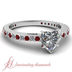 Heart Shaped & Round Diamonds and Red Ruby 14K White Gold Side Stone Engagement Ring in Pave Setting || Sleek Sparkle Set