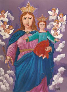 Madonna Maria Ausiliatrice - olio su cartone (83x61 cm)