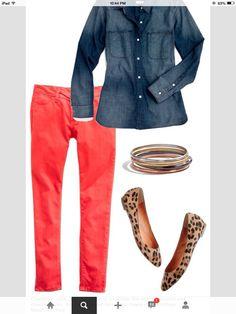 Peach jeans & denim