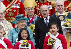 Both the Queen and Prince Philip looked to be in high form as they met with local schoolch...