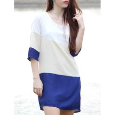 #RoseWholesale - #Rosewholesale Color Block 3/4 Sleeve Dress - AdoreWe.com