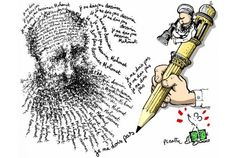 """On February 3, Le Monde newspaper published this cartoon by artist Plantu on its front page -- a drawing of Mohammed composed of sentences in French that say, """"Je ne dois pas dessiner Mahomet"""" - """"I must not draw Mohammed."""" ...but our eyes see Mohammed, so you must die!"""