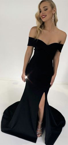 Sexy Off the Shoulder Black Mermaid Long Evening Dress with Slit M2270