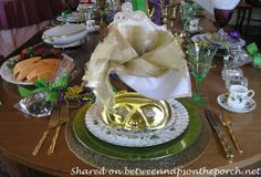 Mardi Gras Table Setting and Decorations