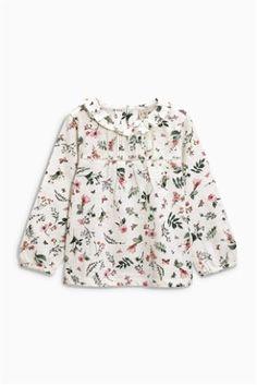 Bluză cu imprimeu floral și franjuri (3 luni - 6 ani)