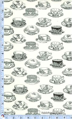 Toile Teacups in Black and Cream by Holly Holderman - Food & Beverages, Elkabee's Fabric Paradise.com, LLC